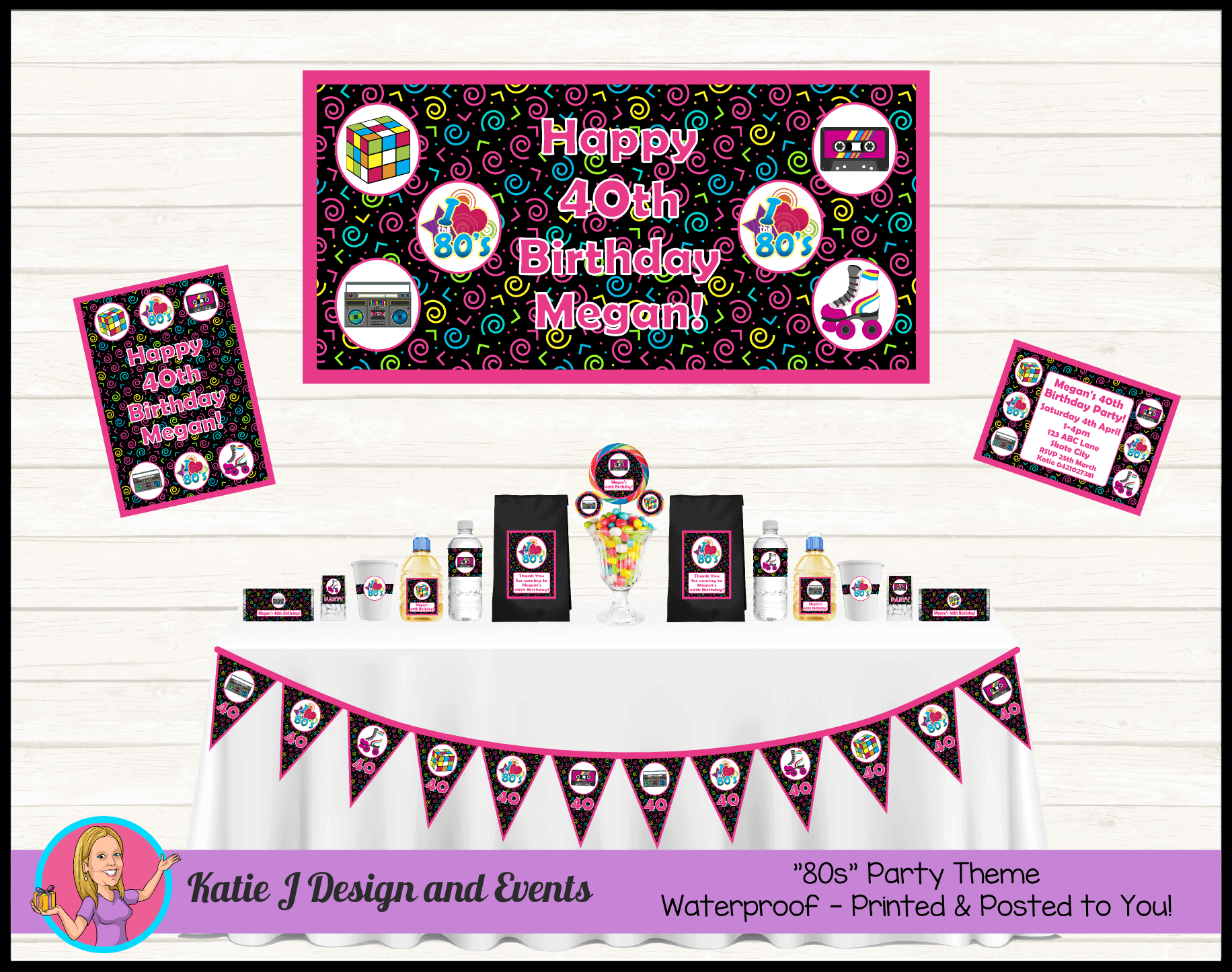 80s 1980s Personalised Party Packs Decorations Supplies