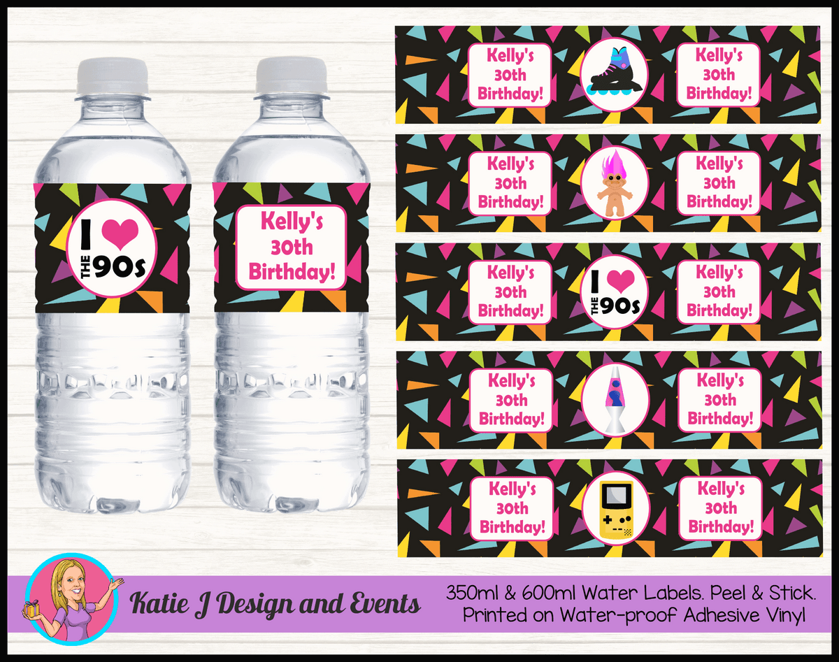 90s 1990s Personalised Birthday Party Water Bottle Labels