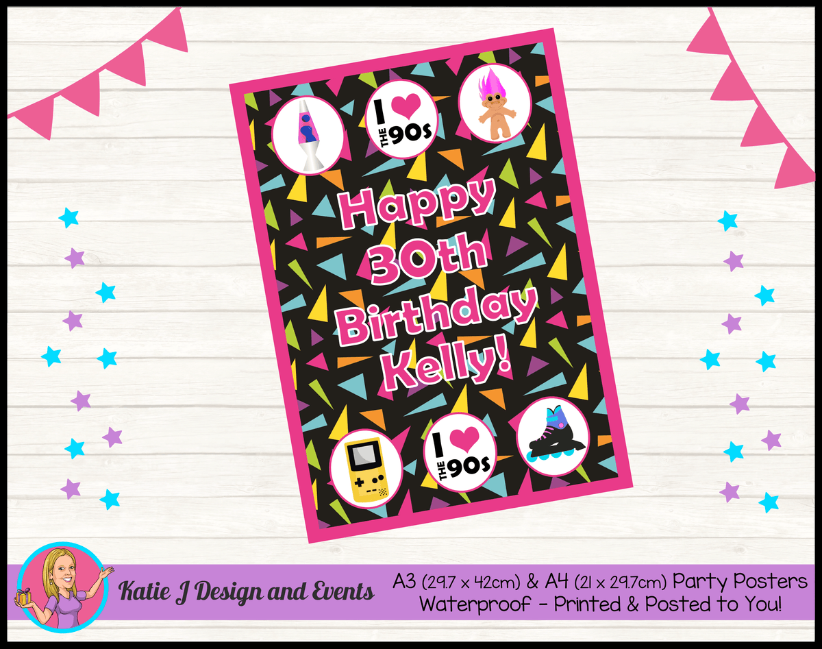 90s 1990s Personalised Birthday Party Posters
