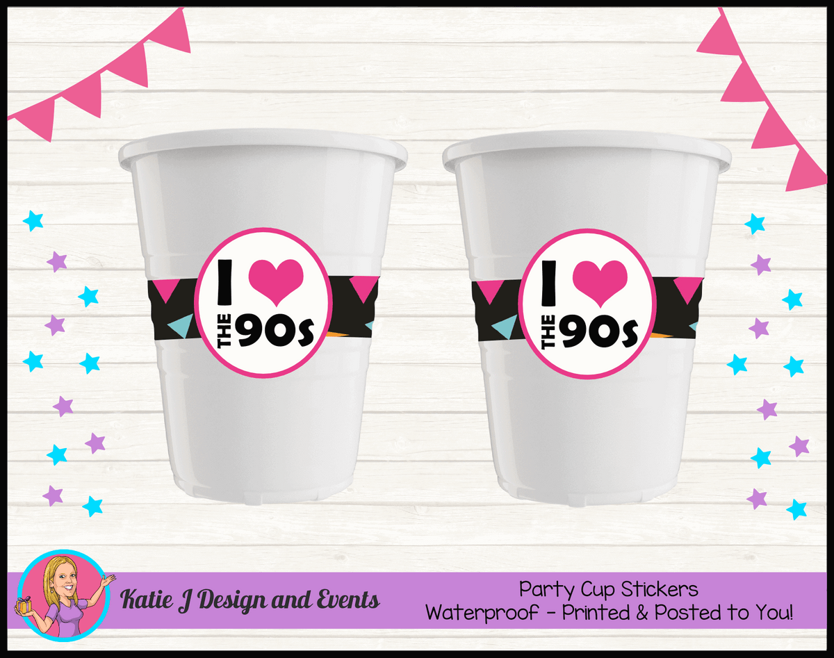 90s 1990s Personalised Birthday Party Cup Stickers Cups