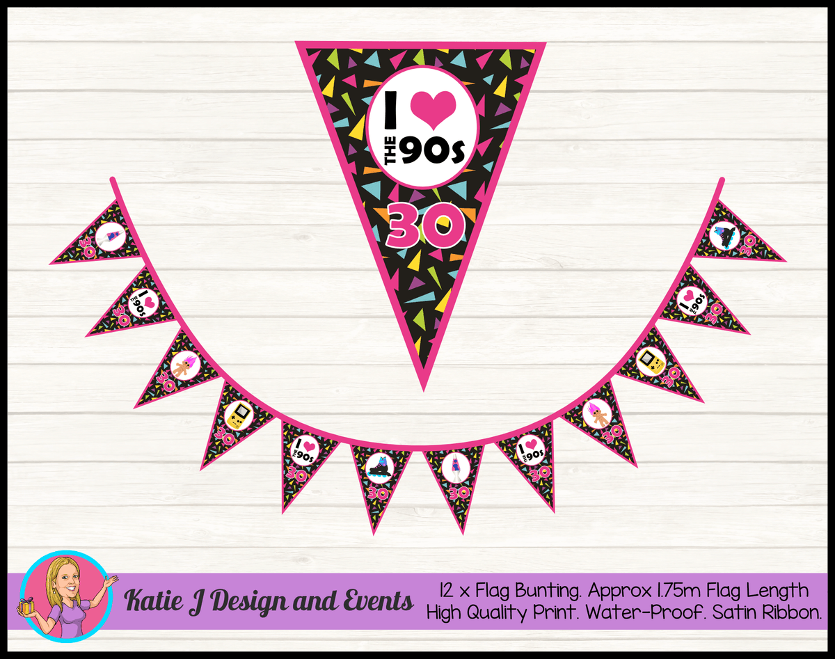 90s 1990s Personalised Birthday Party Flag Bunting