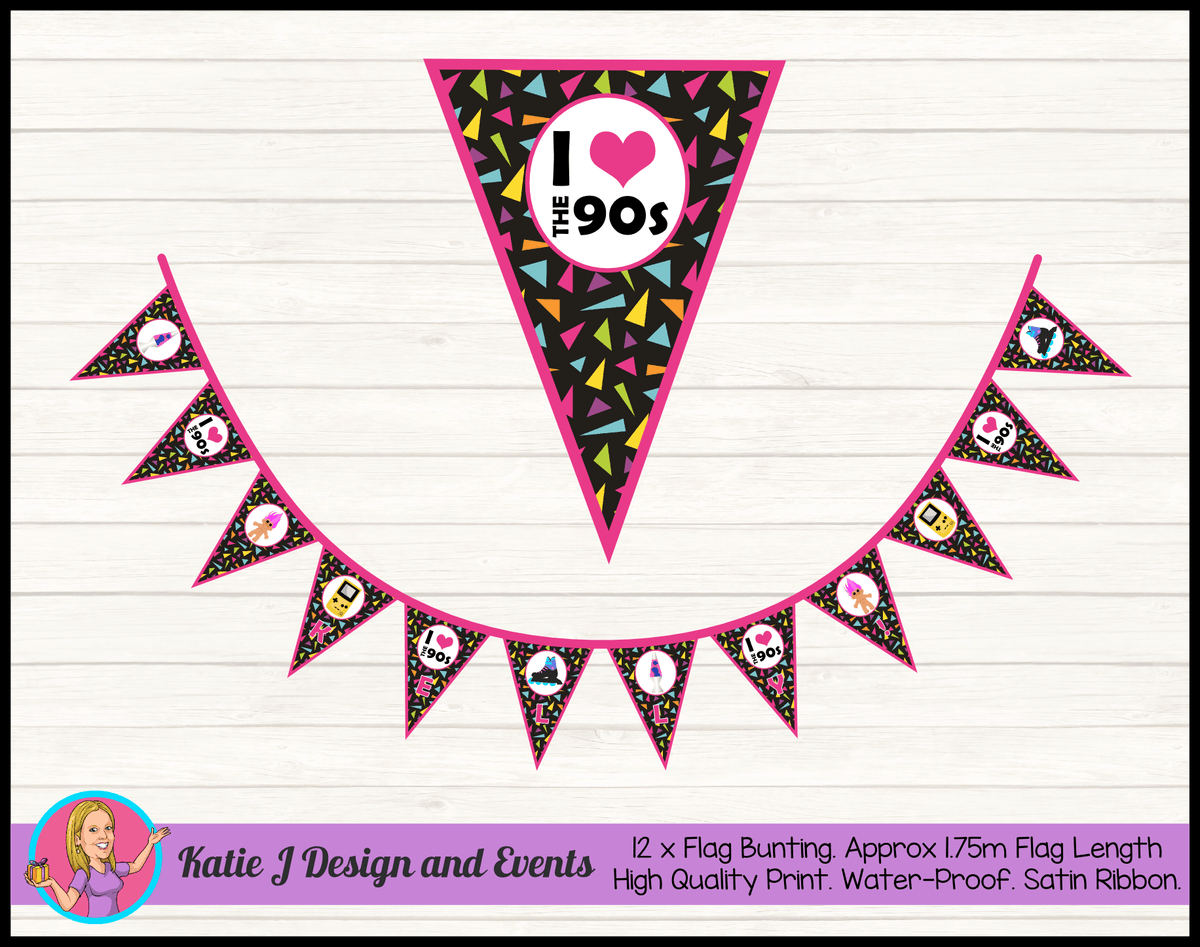 90s 1990s Personalised Birthday Party Flag Bunting Name