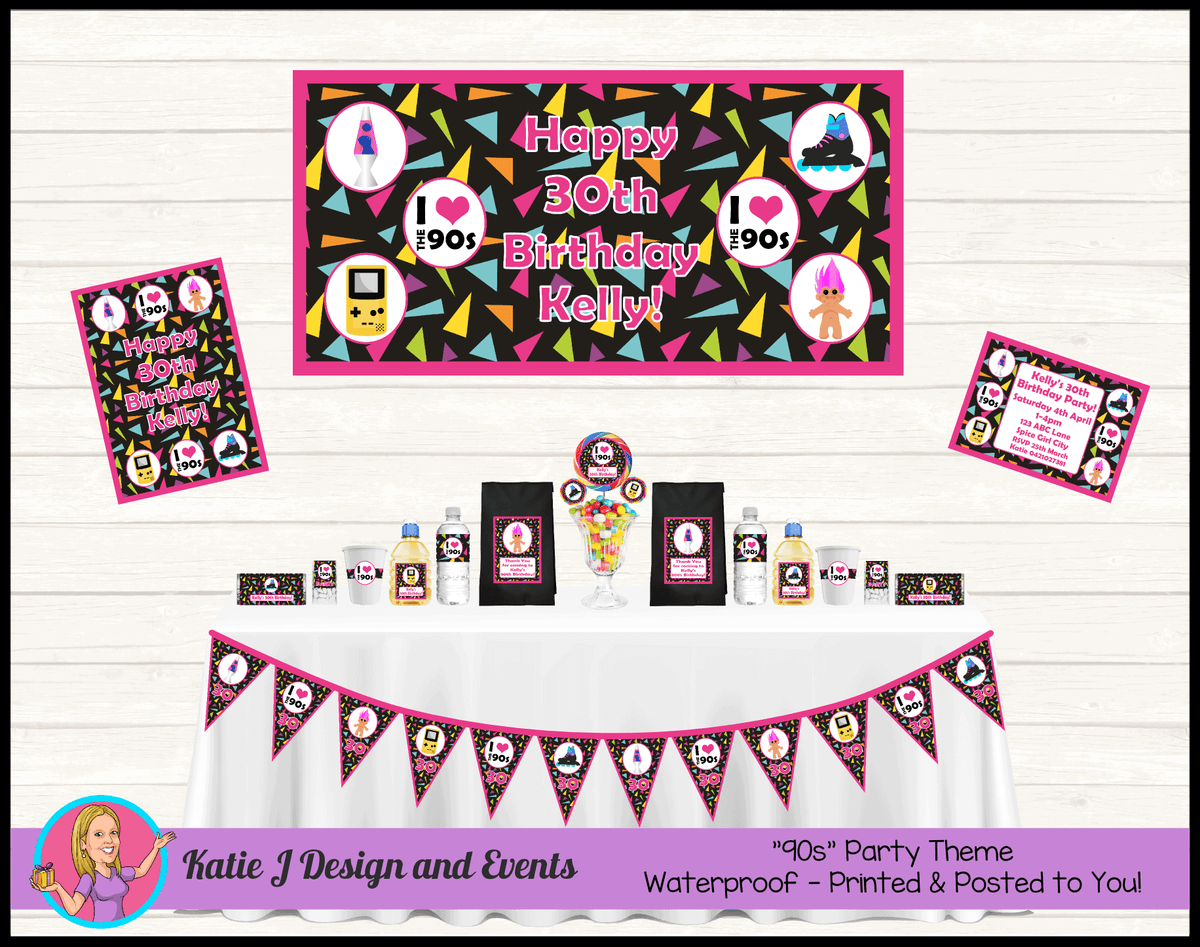 90s 1990s Personalised Party Packs Decorations Supplies