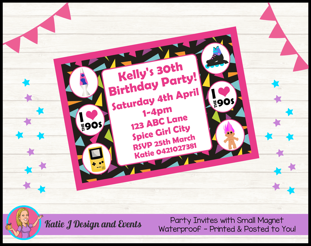 90s 1990s Personalised Birthday Party Invites Invitations
