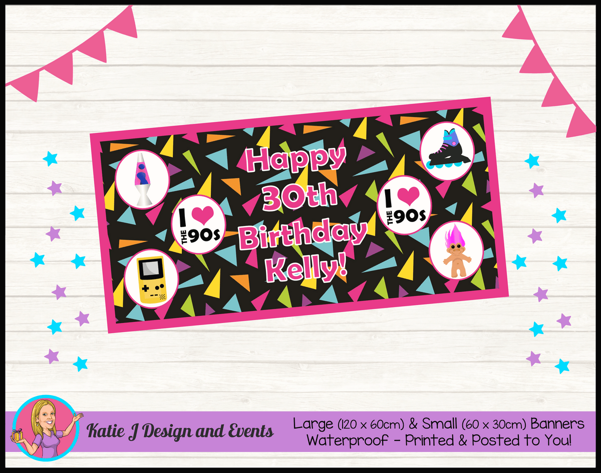 90s 1990s Personalised Birthday Party Banners