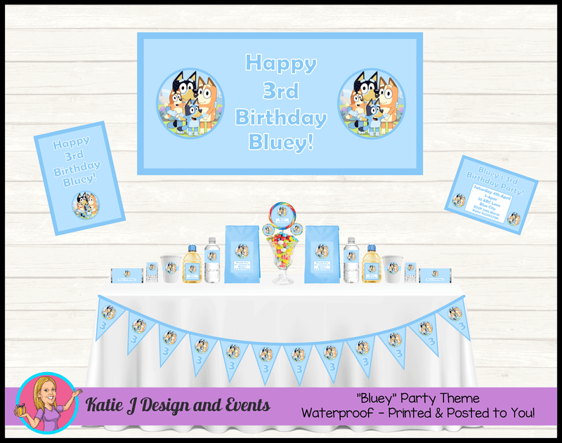 Personalised Boys Bluey Party Packs Decorations Supplies