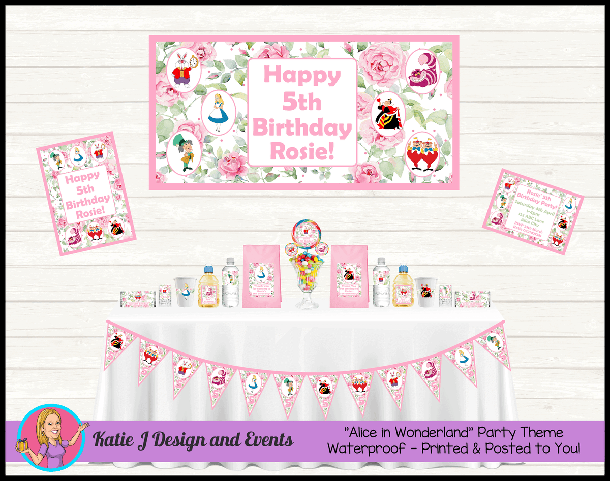 Alice in Wonderland Tea Party Personalised Packs Decorations Supplies