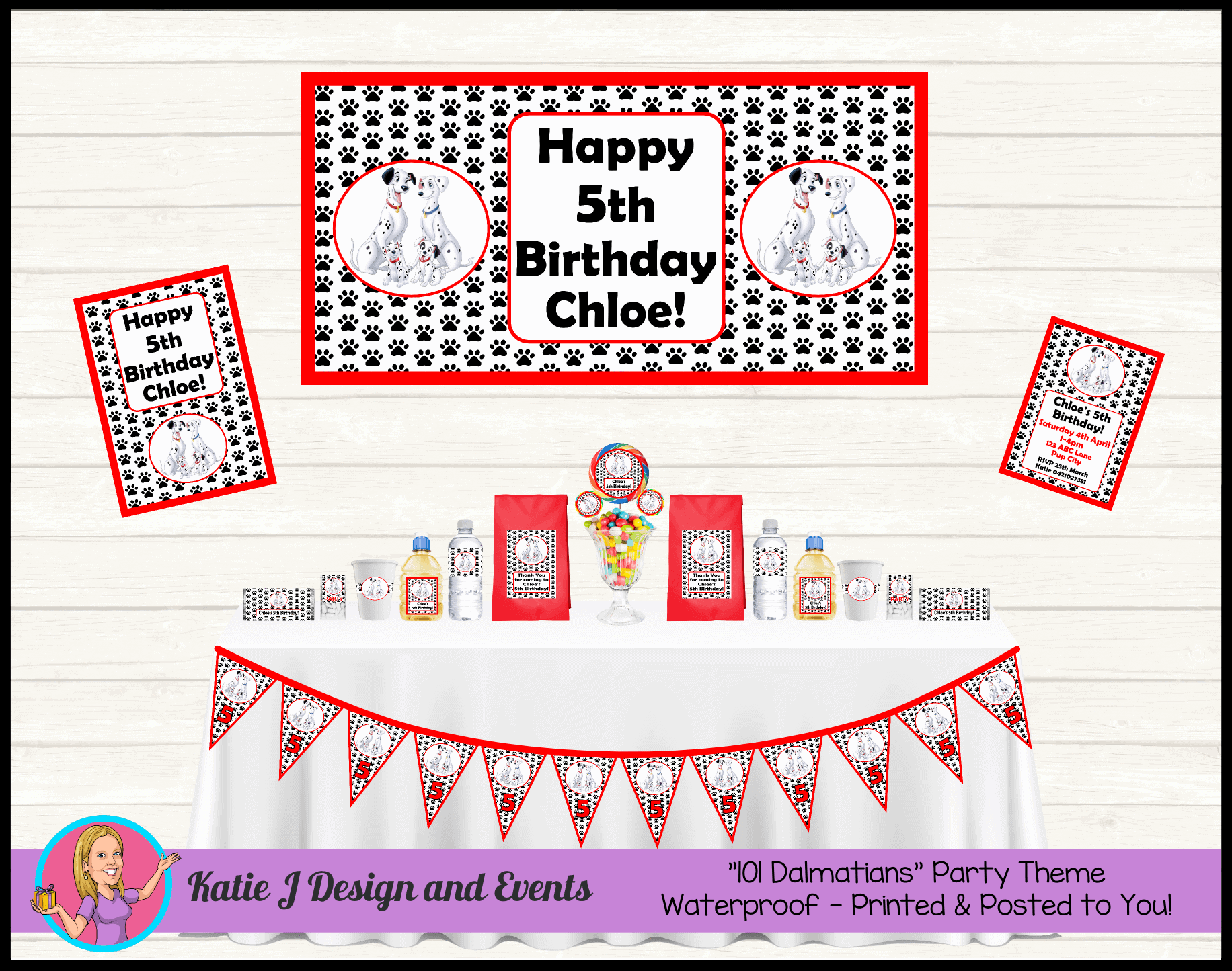 Personalised 101 Dalmatians Party Packs Decorations Supplies