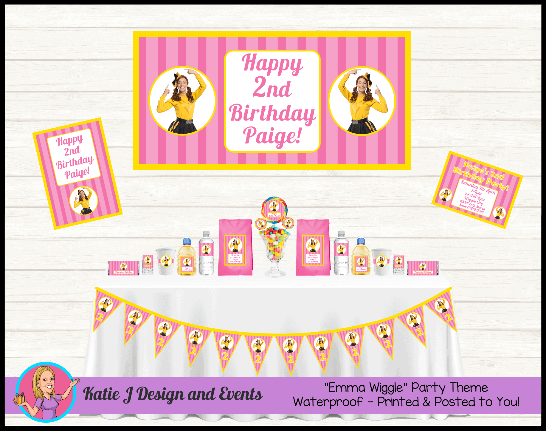Personalised Pink Stripe Emma Wiggle Party Packs Decorations Supplies