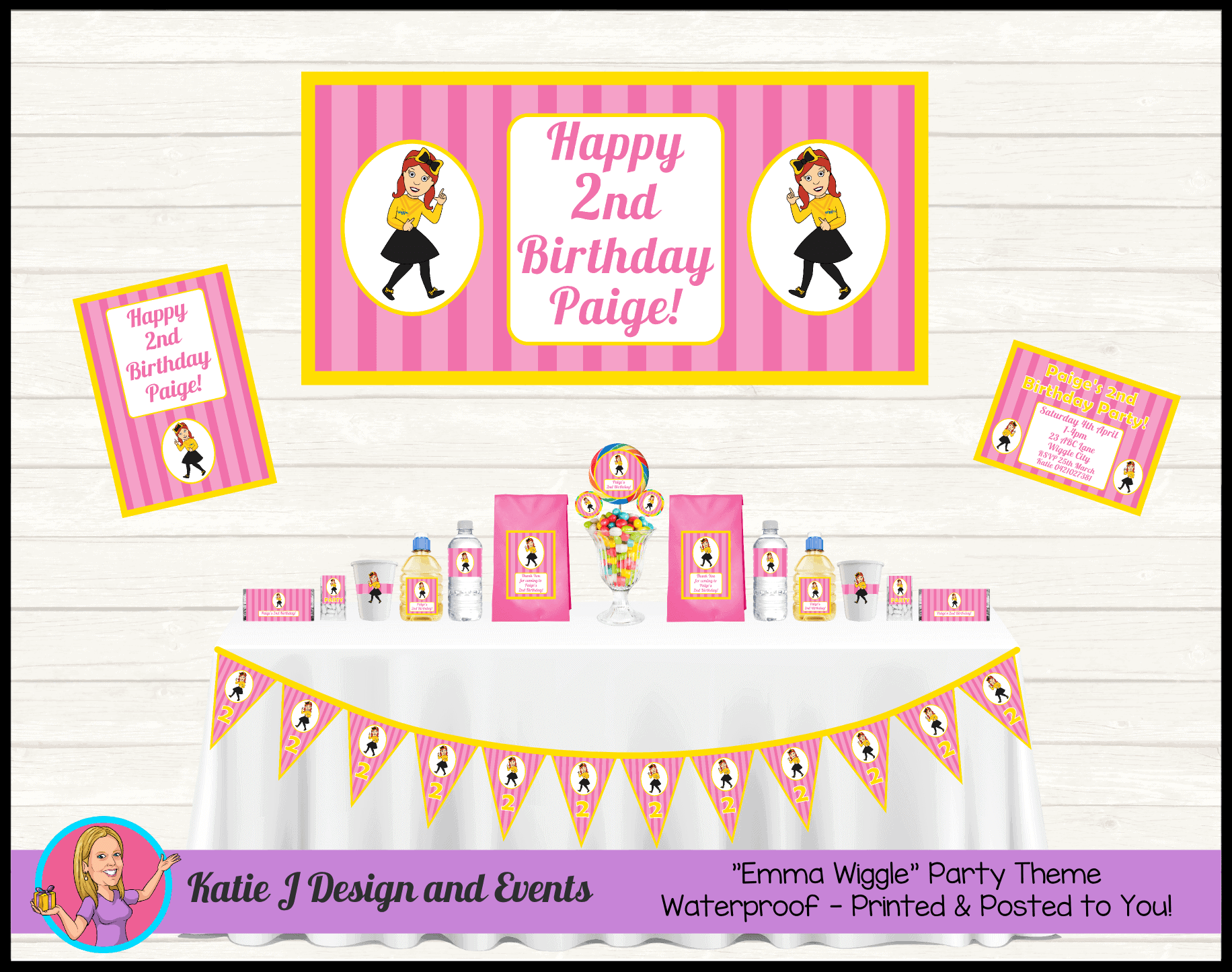 Personalised Pink Stripe Emma Wiggle Cartoon Party Decorations Supplies