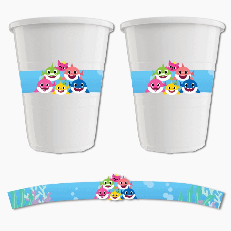 Baby Shark Birthday Party Cup Stickers