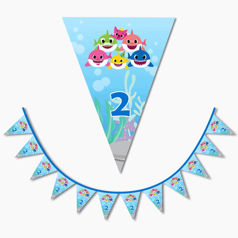 Personalised Baby Shark Birthday Party Flag Bunting