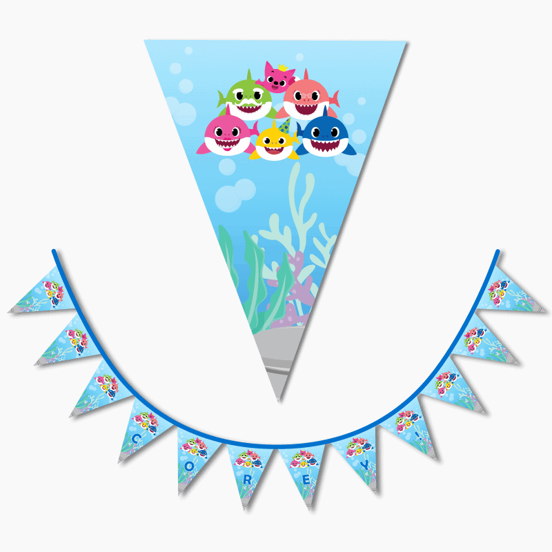 Personalised Baby Shark Birthday Party Flag Bunting with Name