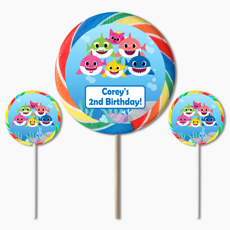 Personalised Baby Shark Birthday Party Lollipop Stickers