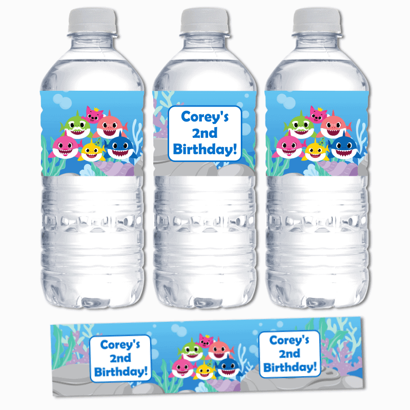 Personalised Baby Shark Birthday Party Water Labels