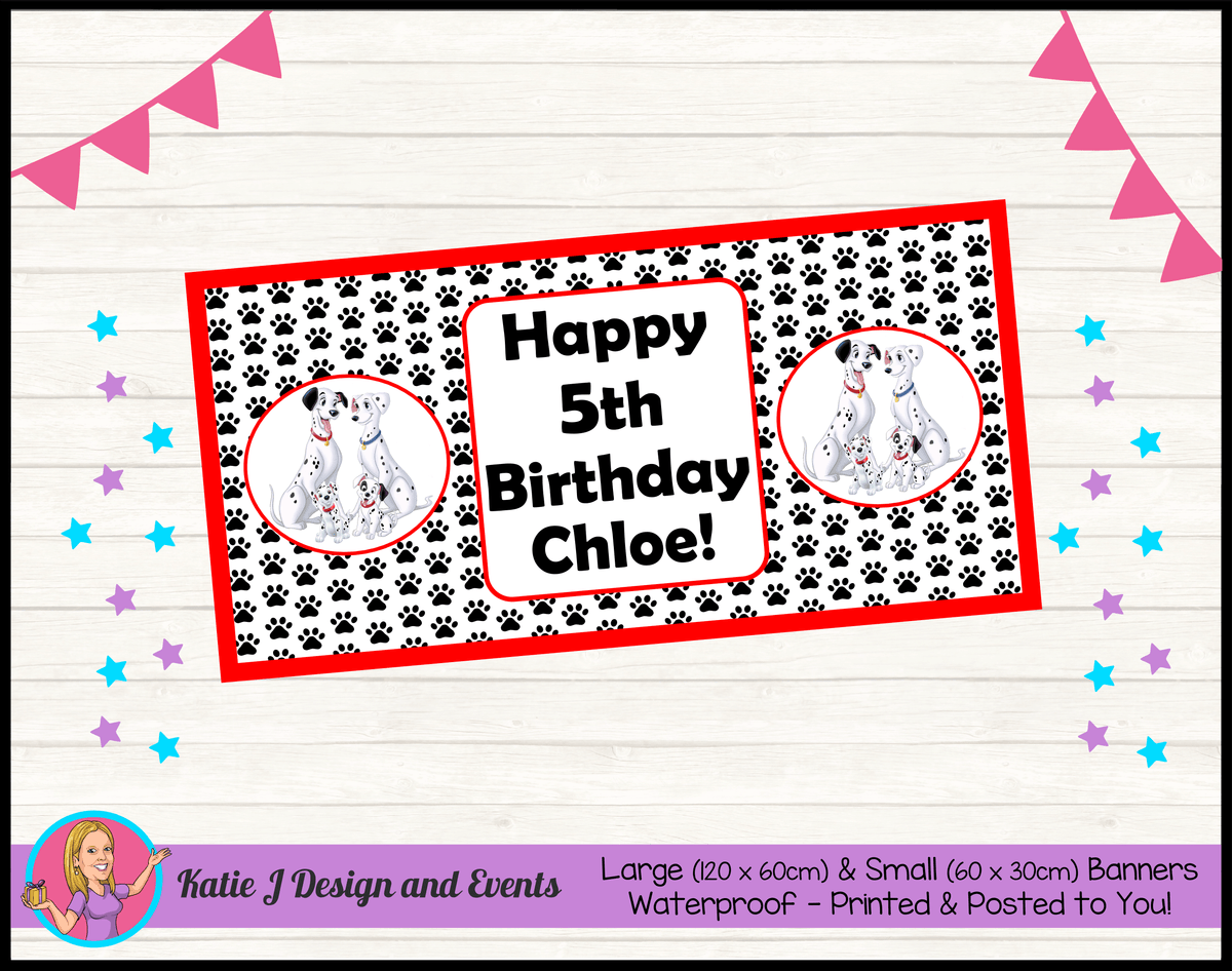 Personalised 101 Dalmatians Birthday Party Banners