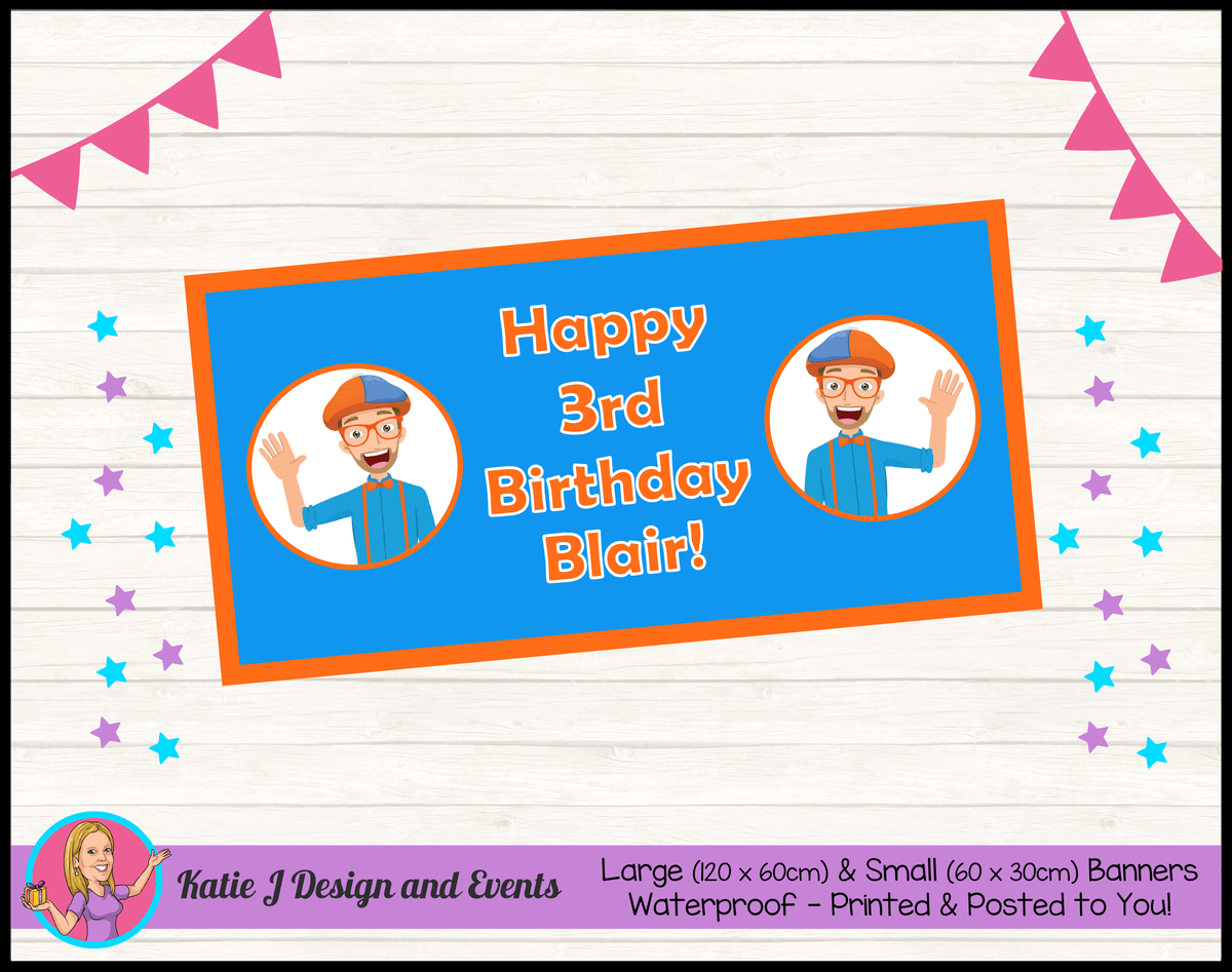 Blippi Personalised Birthday Party Banners