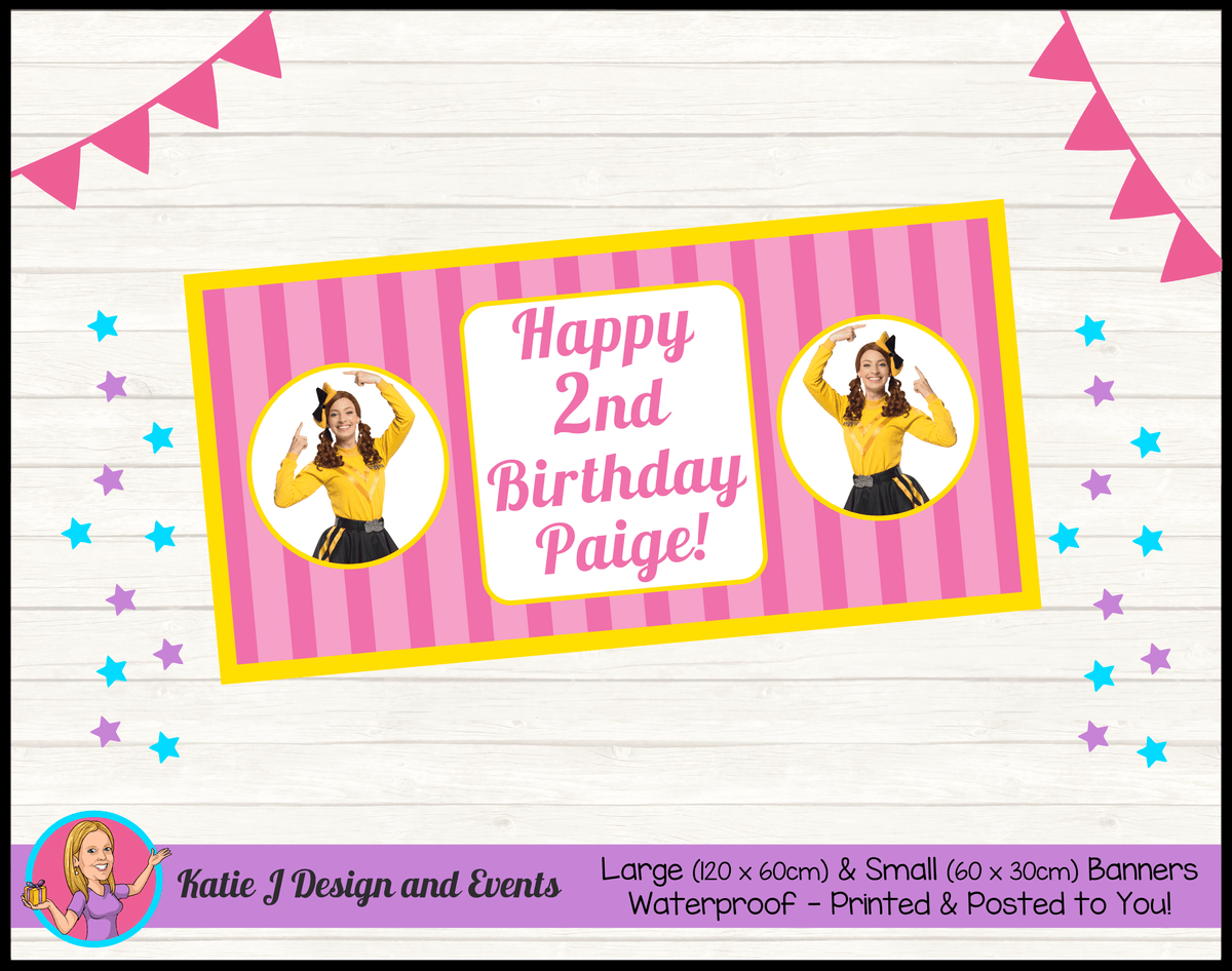Personalised Pink Stripe Emma Wiggle Birthday Party Banners