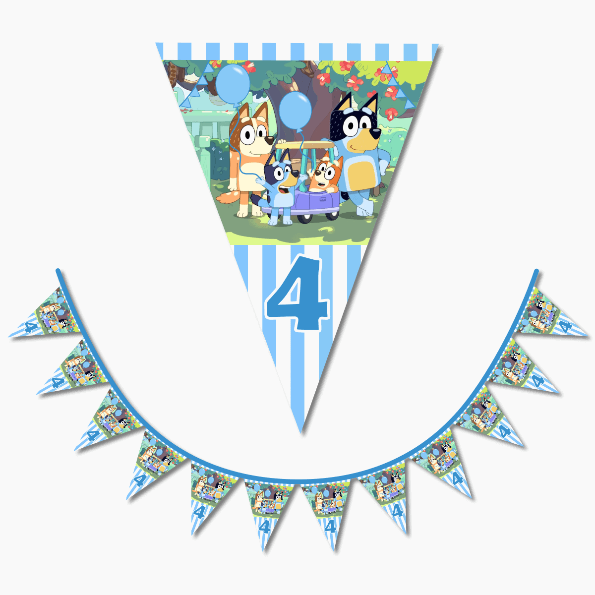 Personalised Boys Bluey Birthday Party Flag Bunting