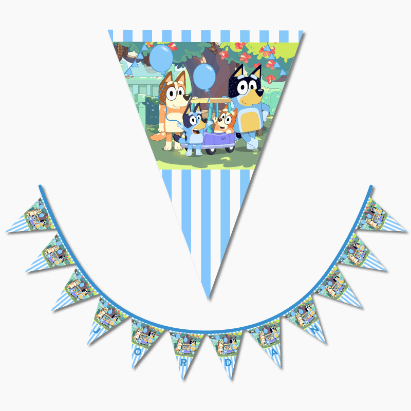 Personalised Bluey Birthday Party Flag Bunting