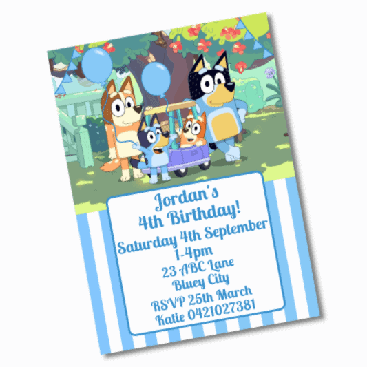 Personalised Bluey Birthday Party Invites