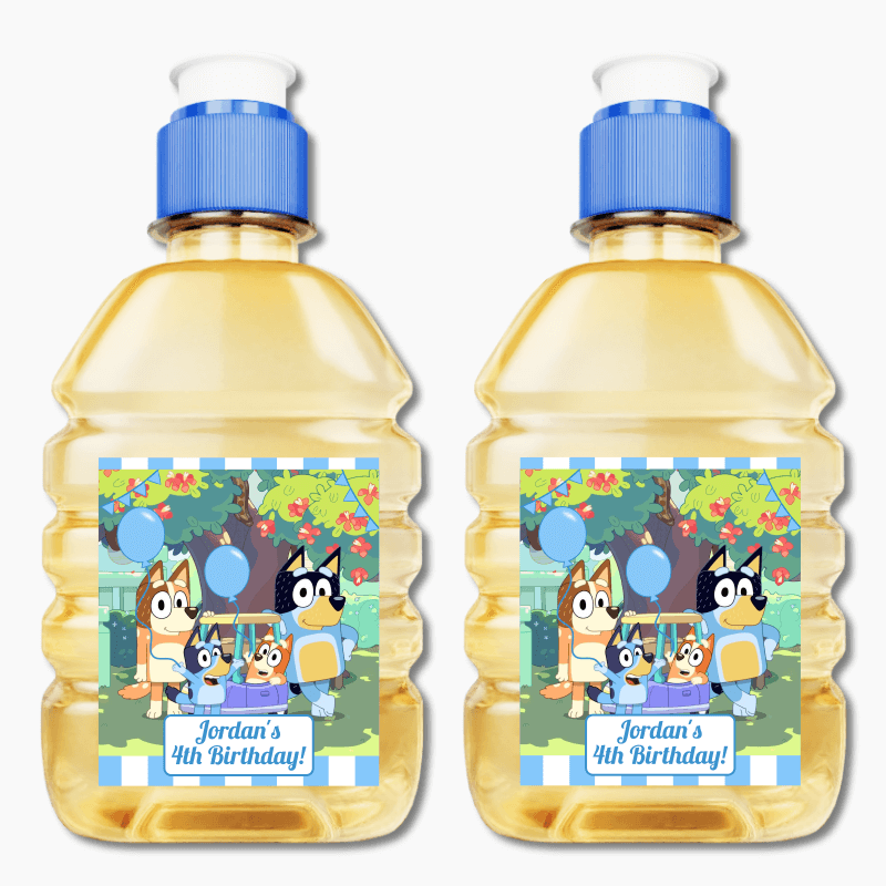 Personalised Bluey Birthday Party Pop Top Juice Labels