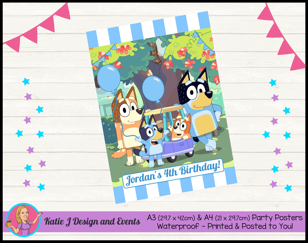 Personalised Boys Bluey Birthday Party Posters