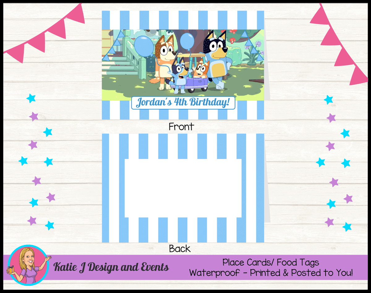 Personalised Boys Bluey Birthday Party Place Cards