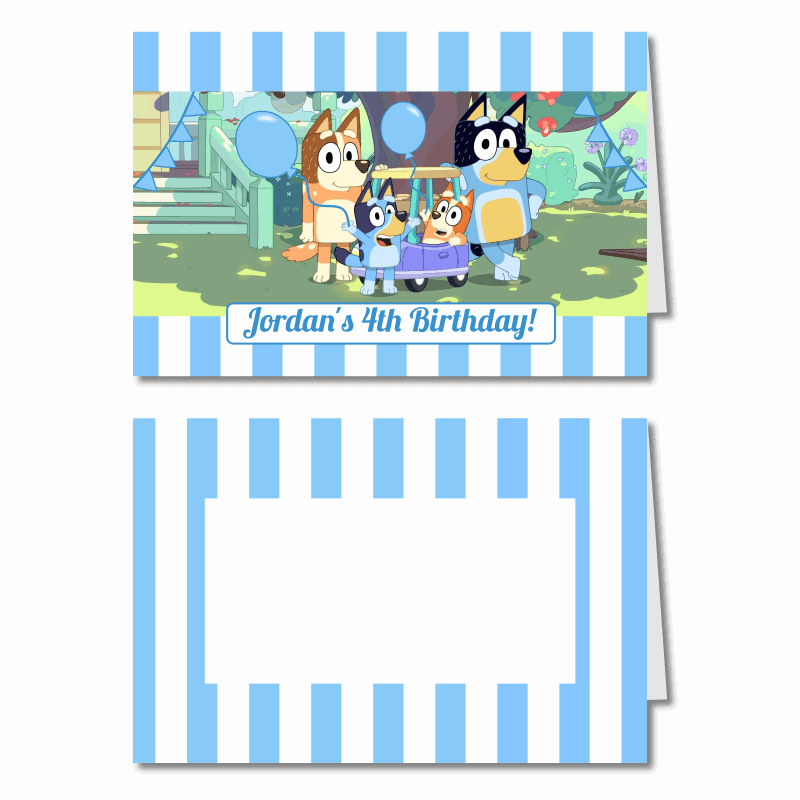 Personalised Bluey Birthday Party Place Cards