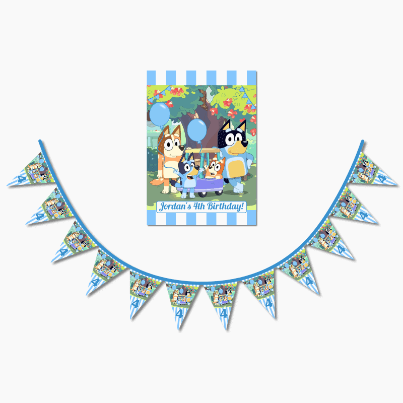 Personalised Bluey Birthday Party A4 Poster & Flag Bunting Combo