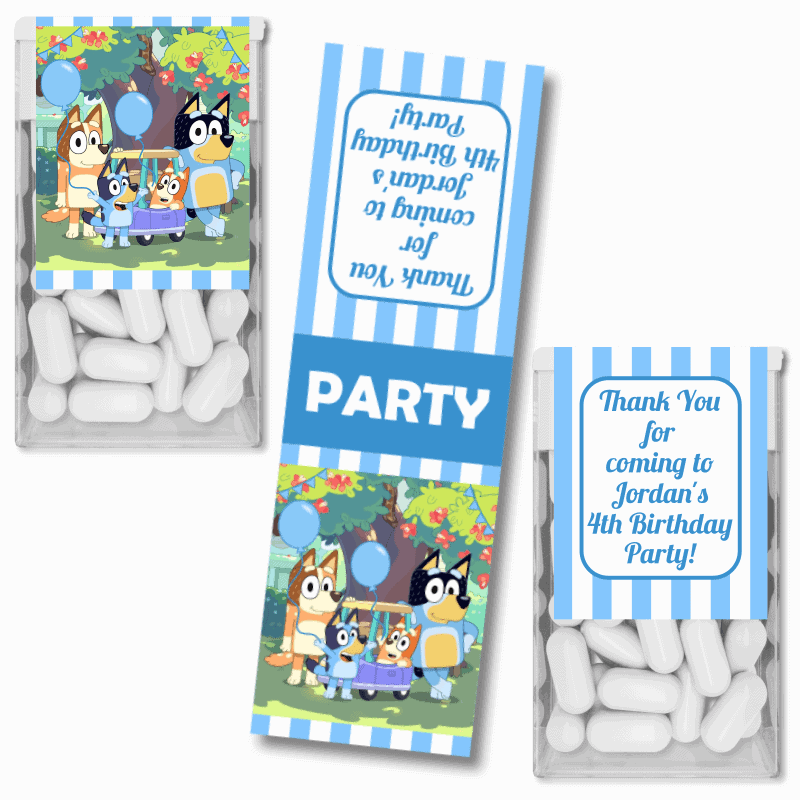 Personalised Bluey Birthday Party Tic Tac Labels
