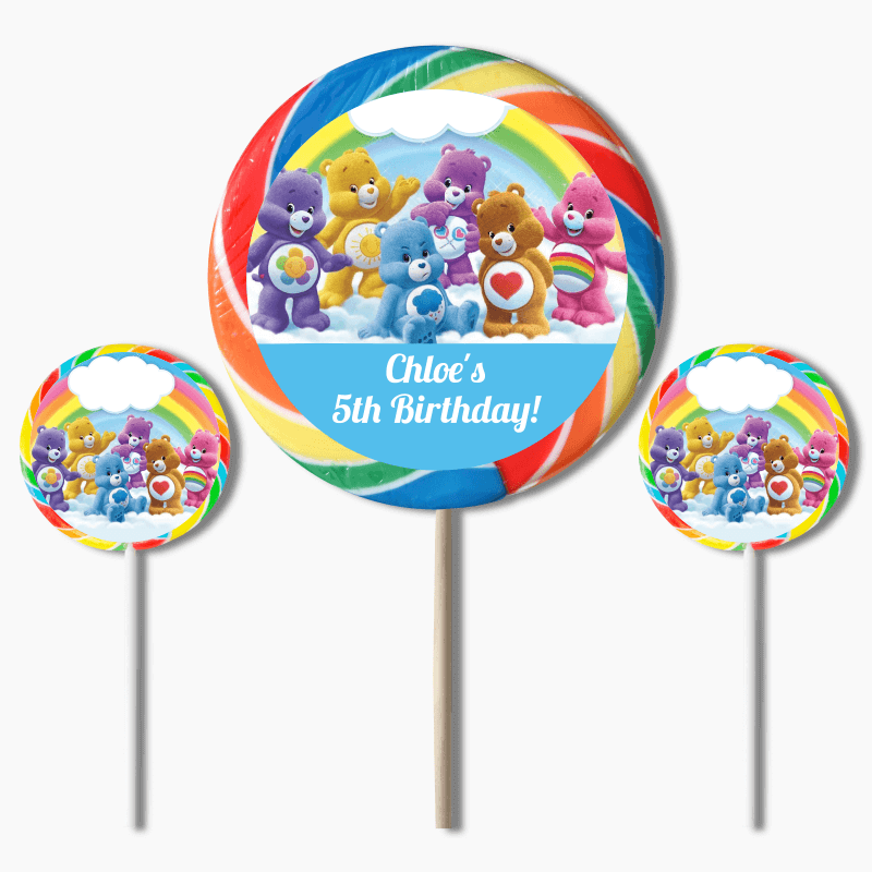 Personalised Care Bears Birthday Party Round Stickers