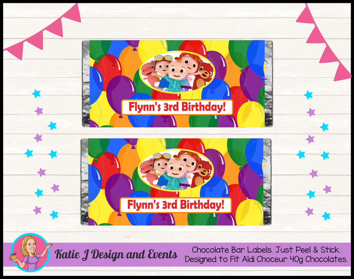Personalised Cocomelon Birthday Party Chocolate Wrappers