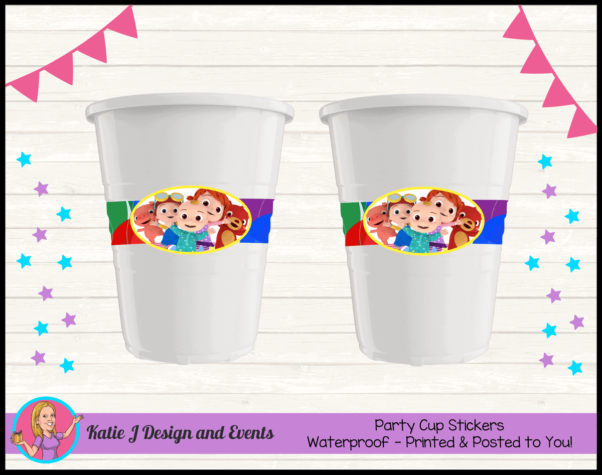 Personalised Cocomelon Birthday Party Cup Stickers