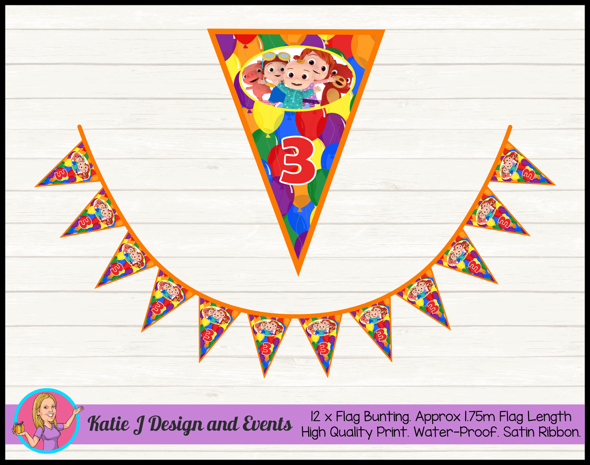 Personalised Cocomelon Birthday Party Flag Bunting