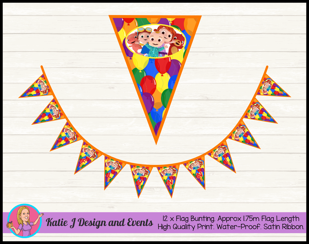 Personalised Cocomelon Birthday Party Flag Bunting Name