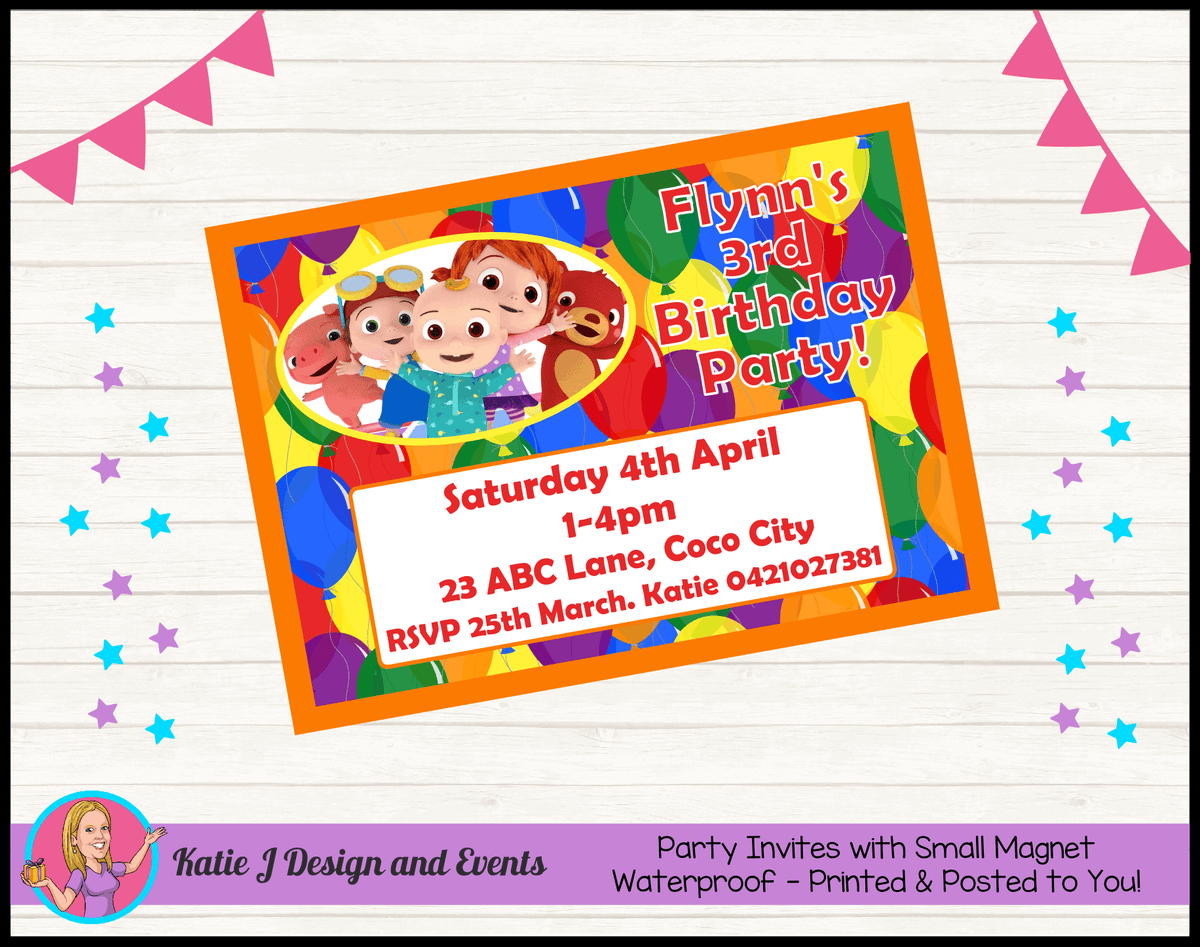Personalised Cocomelon Birthday Party Invites