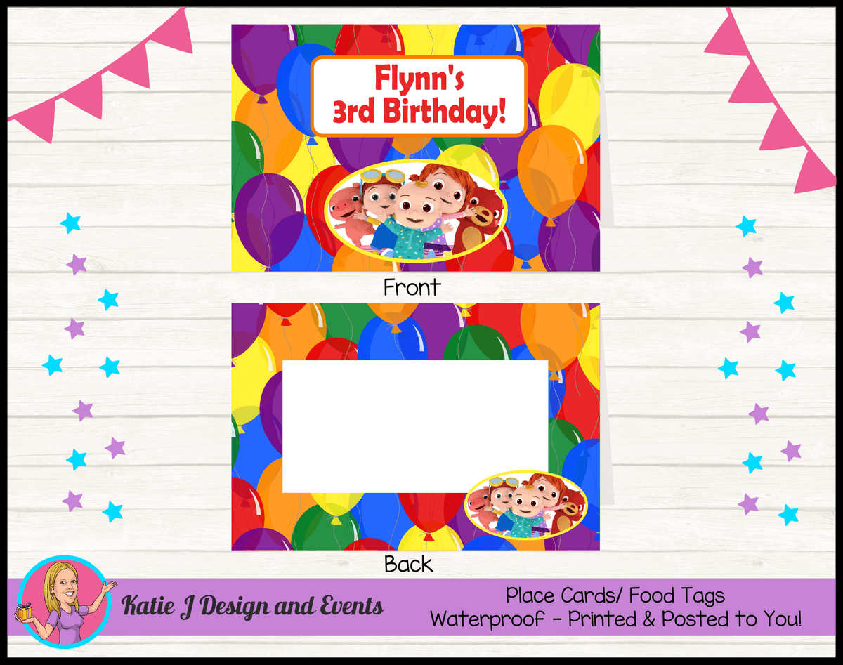 Personalised Cocomelon Birthday Party Place Cards