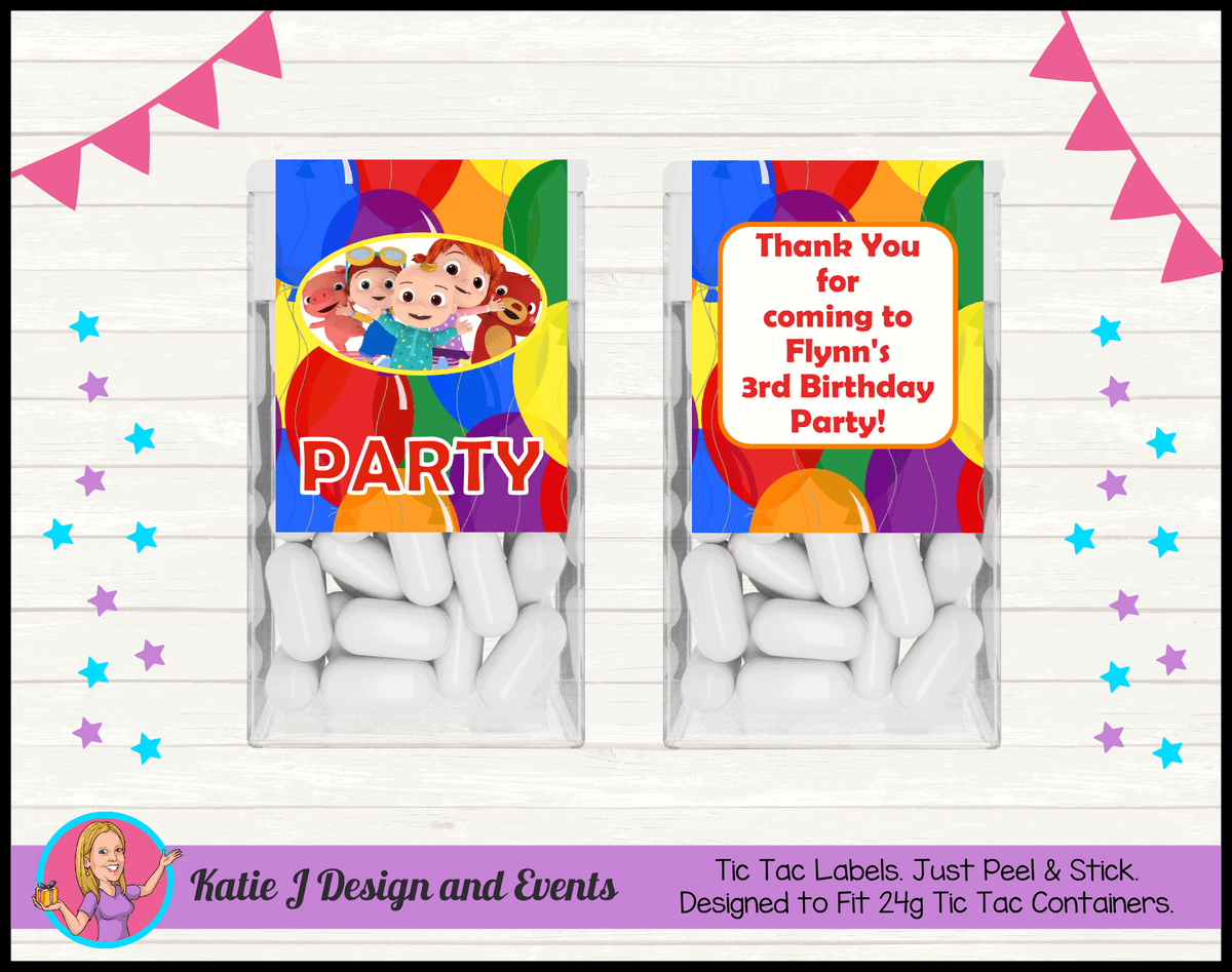Personalised Cocomelon Birthday Party Tic Tac Labels