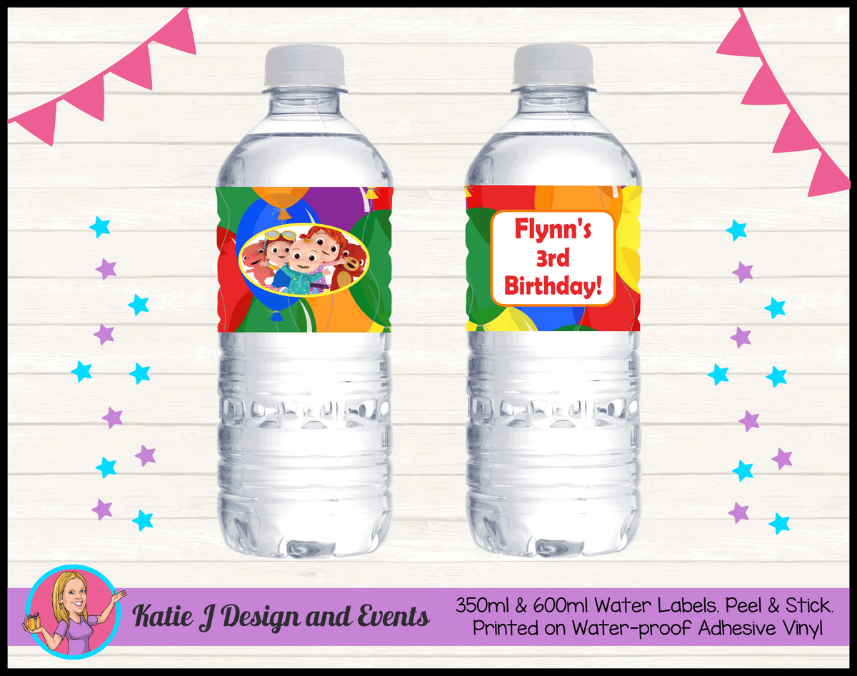 Personalised Cocomelon Birthday Party Water labels