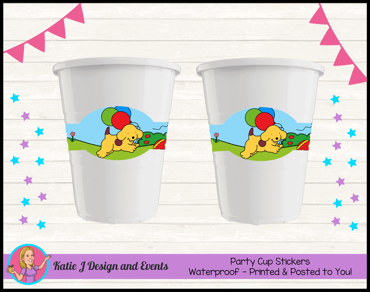 Spot the Dog Personalised Birthday Party Cup Stickers
