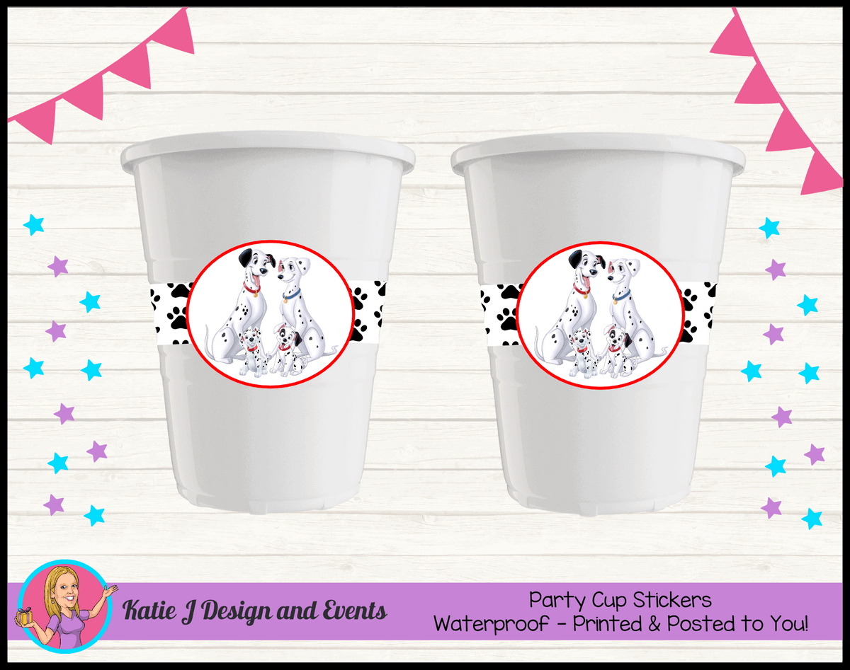 Personalised 101 Dalmatians Birthday Party Cup Stickers Cups