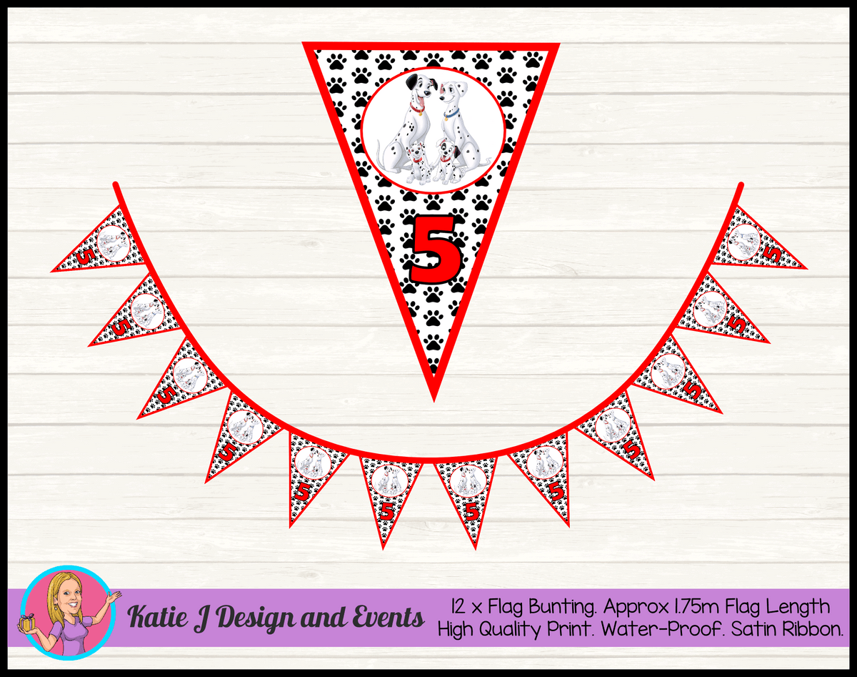 Personalised 101 Dalmatians Birthday Party Flag Bunting