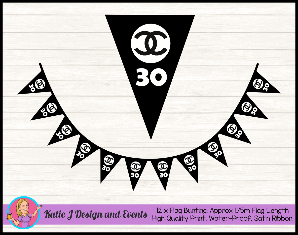 Personalised Coco Chanel Birthday Party Flag Bunting