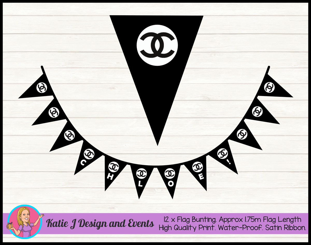 Personalised Coco Chanel Birthday Party Flag Bunting Name