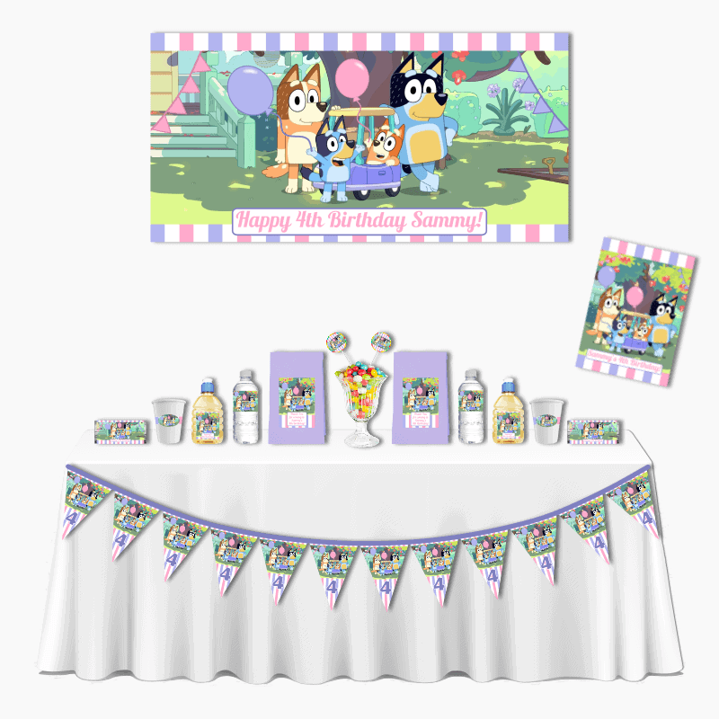 Personalised Girls Bluey Deluxe Birthday Party Pack