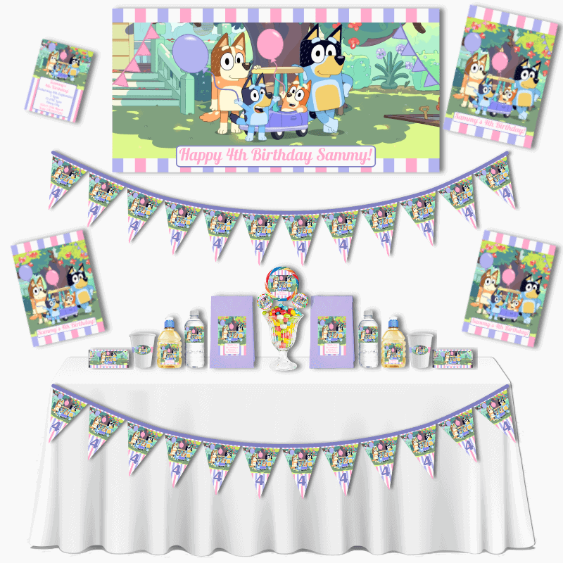 Personalised Girls Bluey Grand Birthday Party Pack