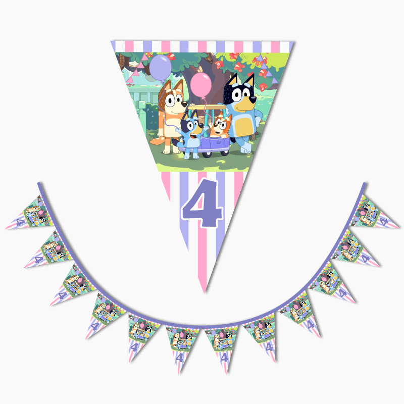Personalised Girls Bluey Birthday Party Flag Bunting
