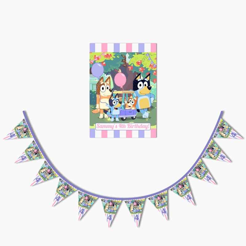 Personalised Girls Bluey Birthday Party Poster & Flag Bunting Combo