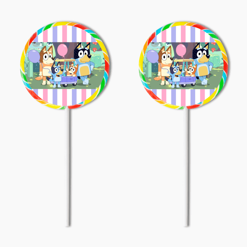 Personalised Girls Bluey Birthday Party Lollipop Stickers
